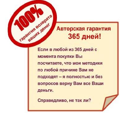 100% авторская гарантия возврата денег 365 дней
